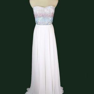 NEW Tony Bowls Beaded White Bridal Evening Dress